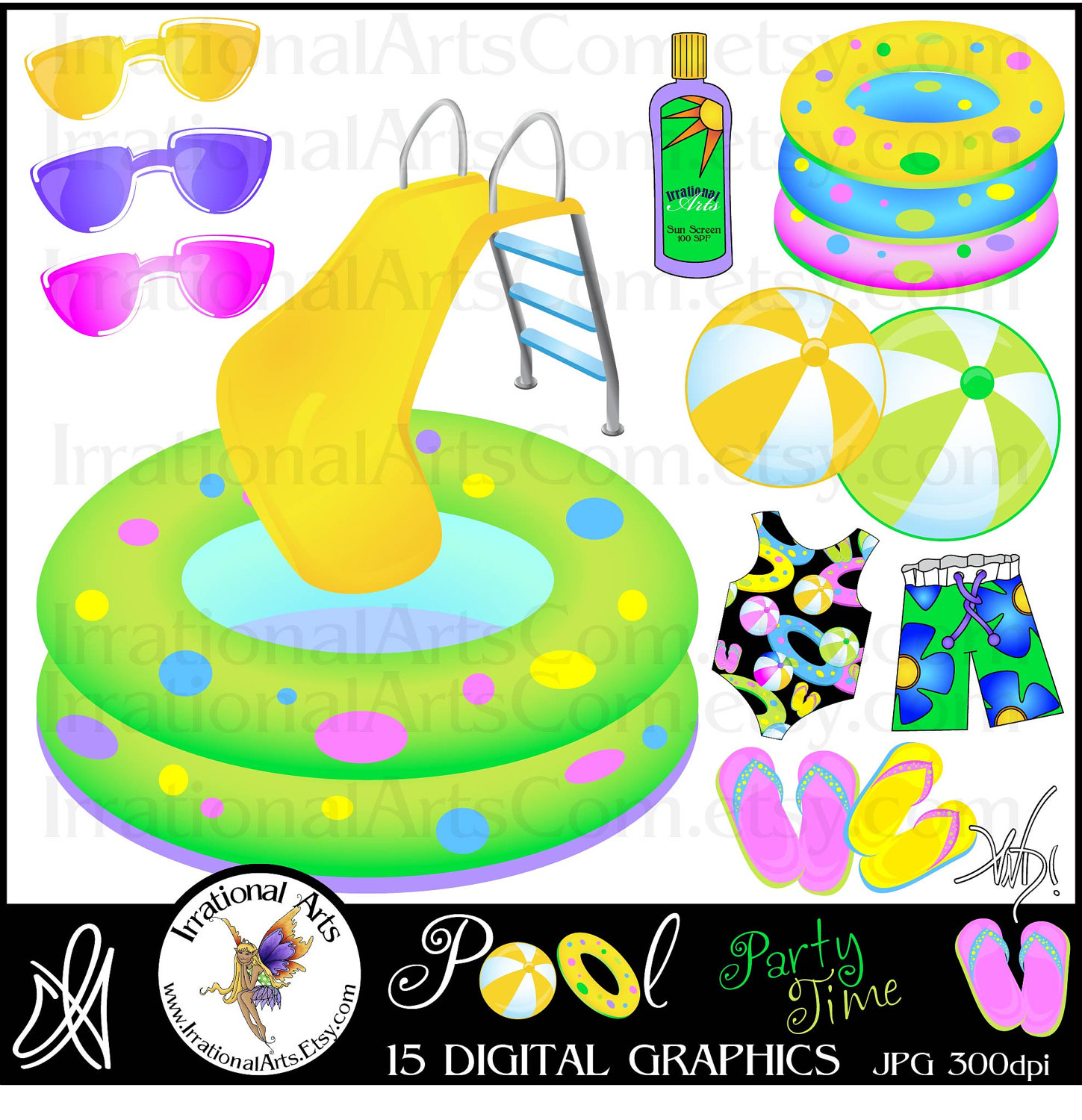 Pool Party Time INSTANT . - Pool Party Pictures Clip Art