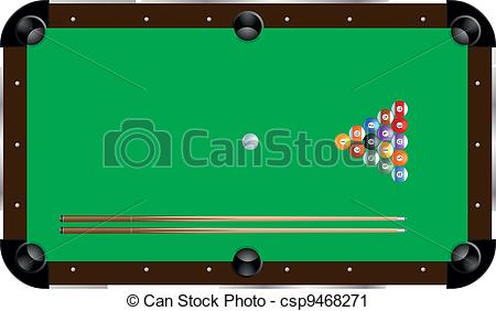 ... pool table - detailed illustration o-... pool table - detailed illustration of a pool table with cues... pool table Clipartby ...-8