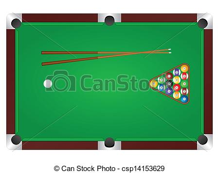 ... pool table - Pool table with balls and cue.
