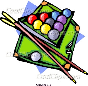 Pool table with ball and cues
