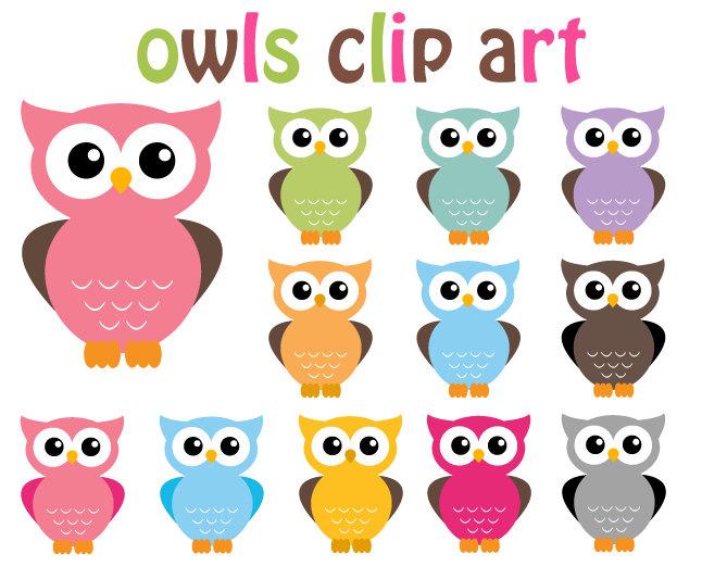 Popular items for owls clip art on Etsy