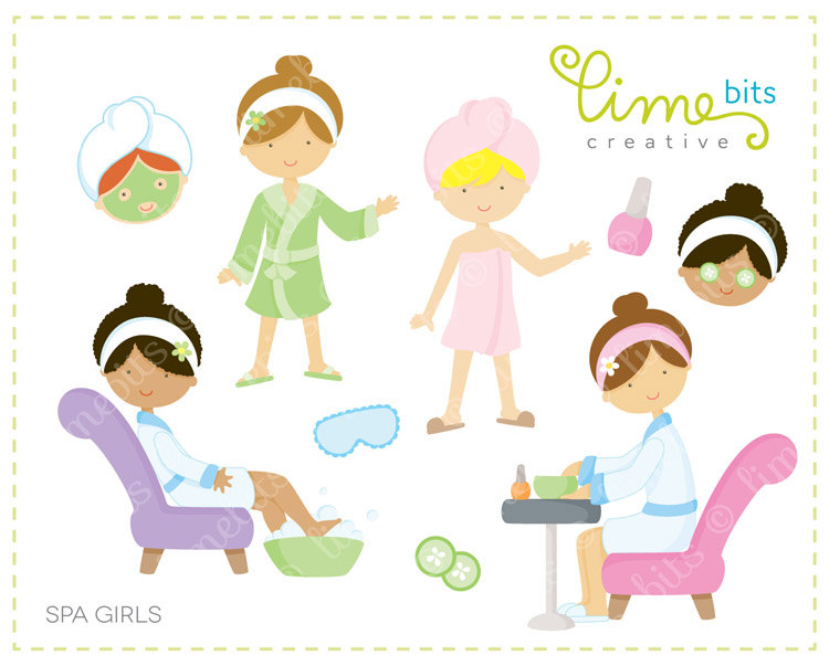 Popular items for spa girl clip art