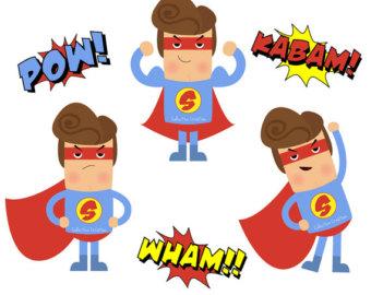 Popular items for superhero clip art on Etsy