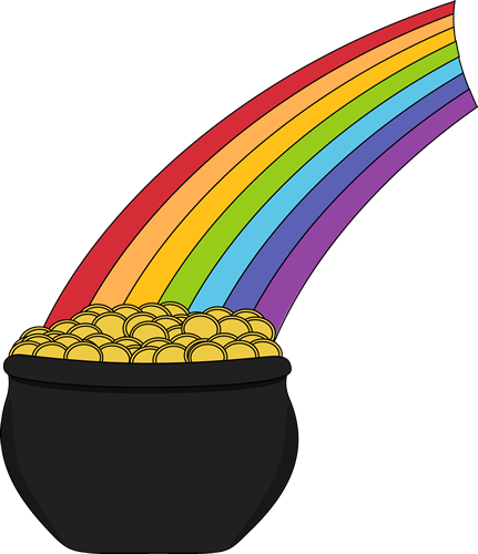 Pot of Gold and Rainbow Clip Art - Pot of Gold and Rainbow Image