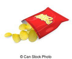 Potato Chips - 3d Illustration, Potato C-Potato chips - 3d illustration, Potato chips snack, isolated.-16