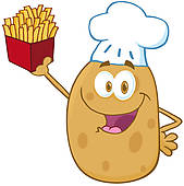 Potato chef cartoon giving thumb up; Happy Potato Chef