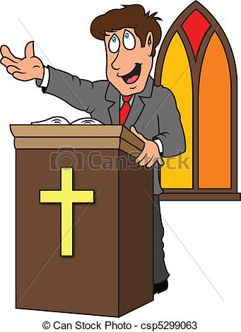 preacher - a pastor preaching the gospel from the pulpit