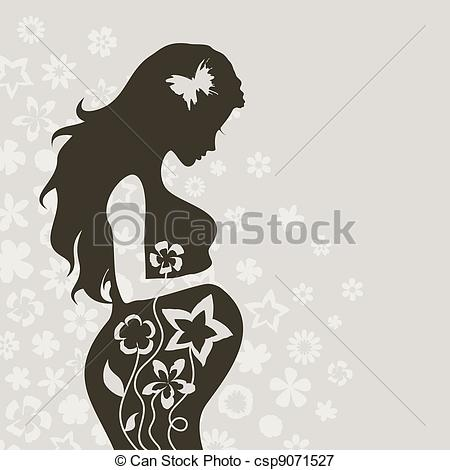 Pregnant girl4 - The pregnant girl on a grey background. A..