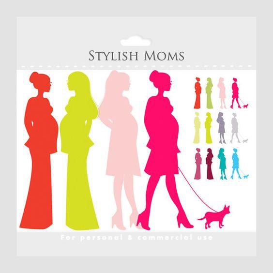 Pregnant mom clipart - chic moms, chic pregnancy clip art, pregnant ladies,  fashionistas