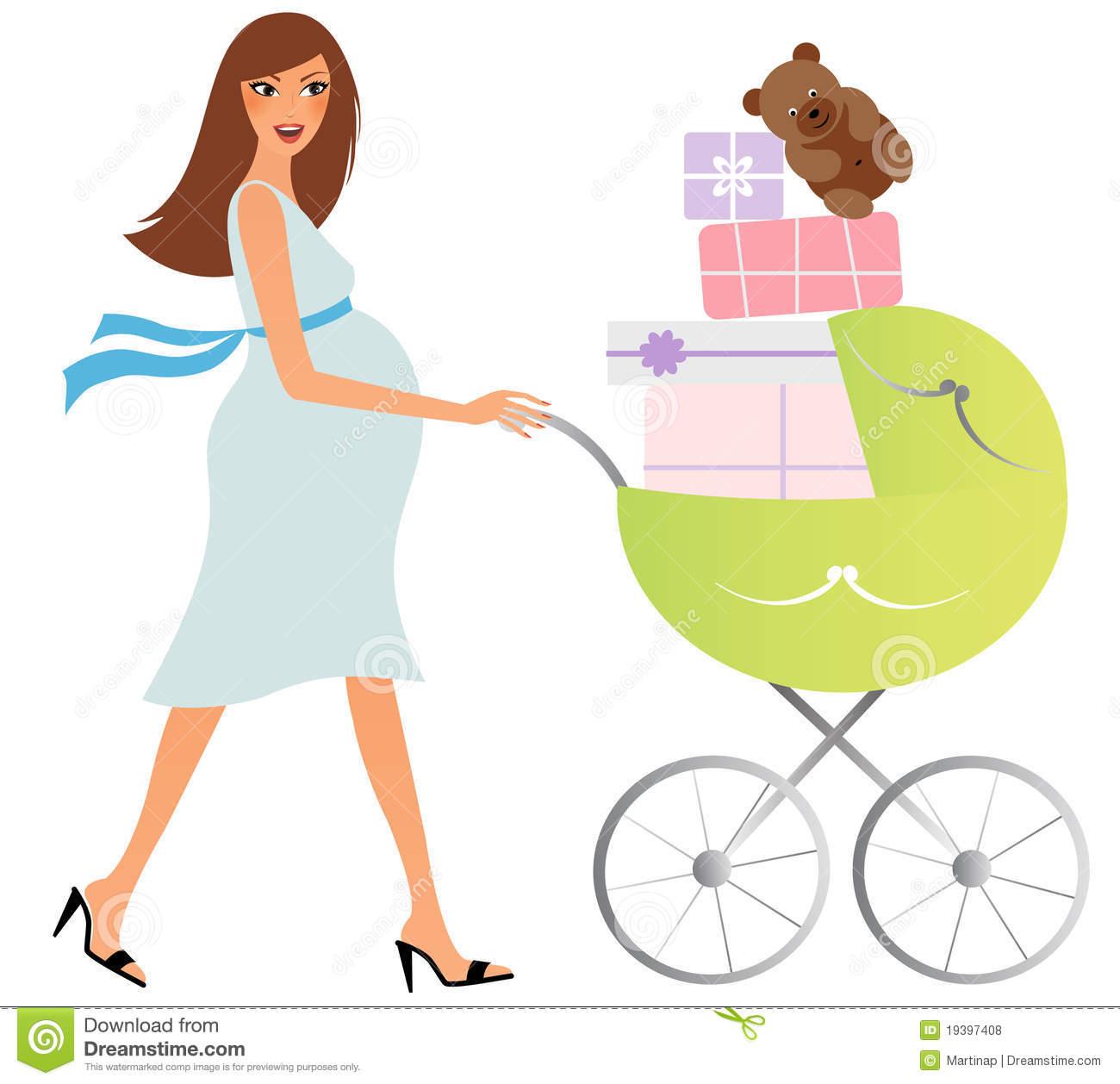 Pregnant Woman Silhouette Clipart Free Stock Photo. Femme Enceinte Heureux Avec Le Chariot Photos Libres De Droits Image