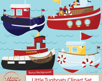 Premium Nautical Tugboat Clipart for Digital Scrapbooks, Crafting, Invitations, Web and More - Tug Boats Clip Art