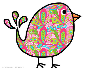 Preppy Paisley Bird - Original art download, bird clip art, bird printable, bird graphic