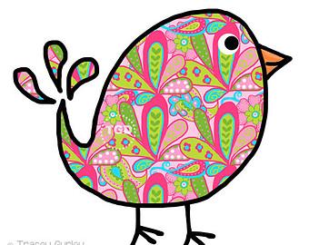 Preppy Paisley Bird - Original art download, bird clip art, bird printable, bird graphic
