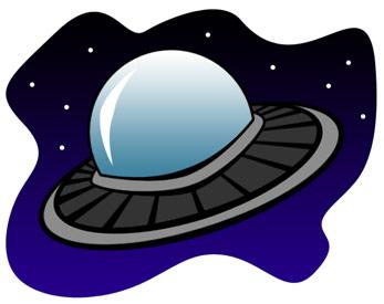 Pretty Cartoon Alien Flying Saucer In Sp-pretty cartoon alien flying saucer in space; free alien spaceship clipart-11