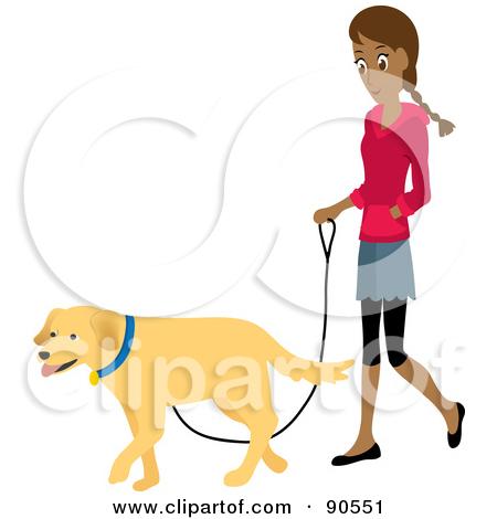 Pretty Hispanic Woman Walking Her Golden-Pretty Hispanic Woman Walking Her Golden Retriever Dog On A Leash by Rosie Piter-17