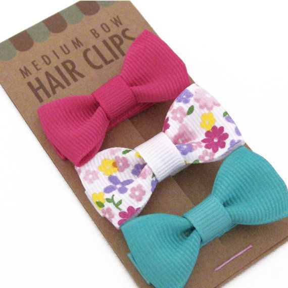 Pretty #Packaging Hair Bow Clip Set of 3 Alligator Clips Fully Lined by Misopolis,