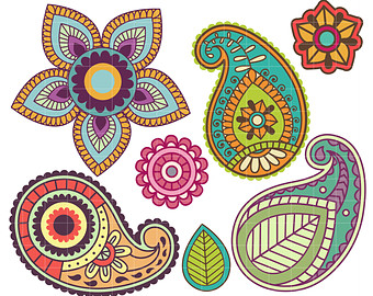 Pretty Paisley Clipart Digital Clip Art for Scrapbooking Card Making Cupcake Toppers Paper Crafts