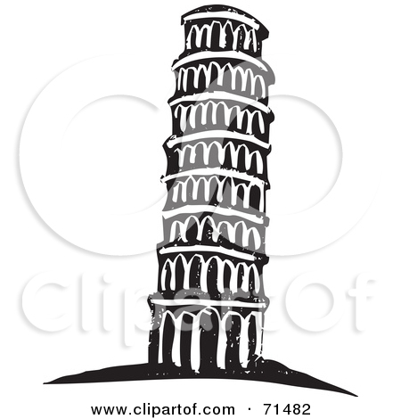 Preview Clipart. Black And White Carving Design Of The Leaning Tower Of Pisa