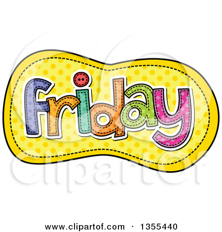 Preview Clipart U0026middot; Cartoon Sti-Preview Clipart u0026middot; Cartoon Stitched Friday Day Of The Week Over Yellow Polka Dots by Prawny-14