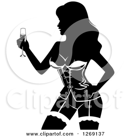 Preview Clipart. Silhouetted Black And White Female Stripper Holding Champagne At A Bachelor Party