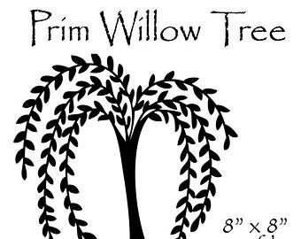 Prim Willow Tree Clipart, Primitive Willow Tree, Prim Clipart, Prim Graphics, Primitive Art, Silhouette, Willow Tree Silhouette, Willow Tree