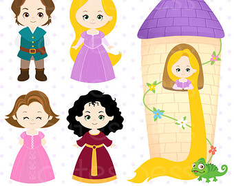 Princess Digital Clipart, Princess Clipart, Rapunzel Clipart