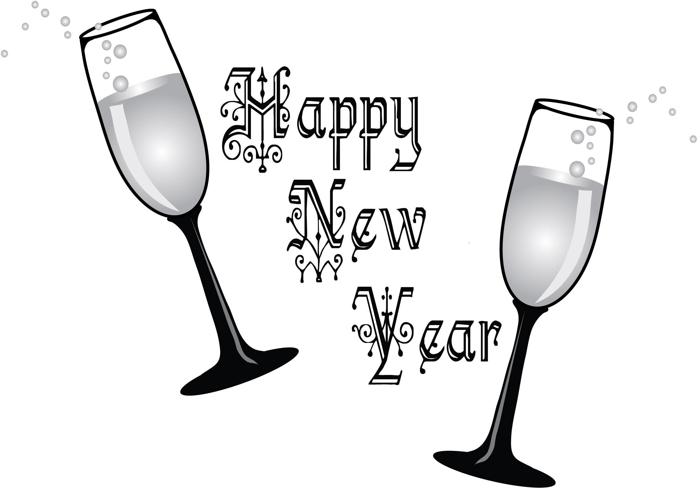Printable Happy New Year Clipart Black And White Images Happy