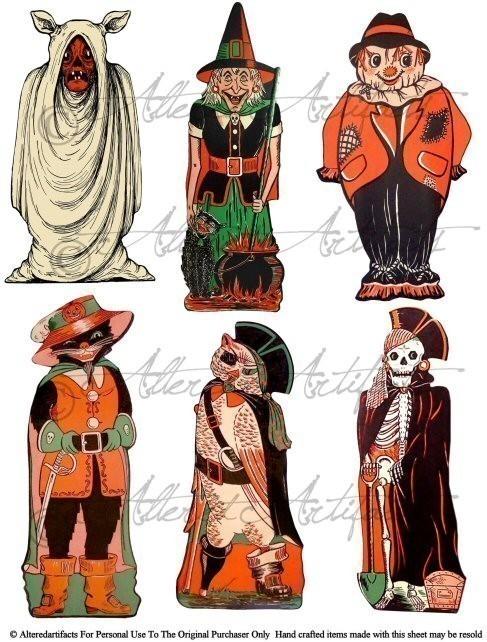 Printable Vintage Halloween Clip Art Cos-Printable Vintage Halloween Clip Art Costume Parade Printable Retro Beistle Scraps Halloween Decoration Digital Collage Sheet-8