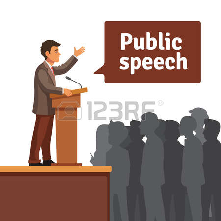 public speaker: Public speaker standing behind rostrum speaking to gathered public. Flat style vector