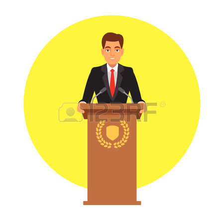 public speaker: Public speaker standing behind rostrum with emblem and speaking to microphones. Flat