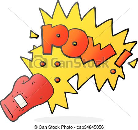 cartoon boxing glove punch - csp34845056