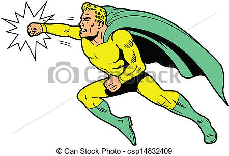 Classic superhero throwing a  - Punch Clipart