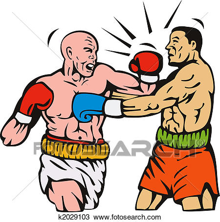 Drawing - Two men boxing left hook punch. Fotosearch - Search Clipart,  Illustration,