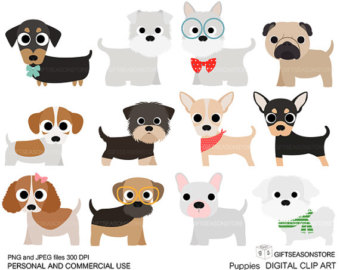 Puppies Digital Clip Art Part 1 For Pers-Puppies Digital clip art part 1 for Personal and Commercial use - INSTANT DOWNLOAD-8