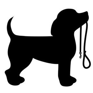 Puppy Dog In Silhouette, Head Up Dog Wit-Puppy Dog in Silhouette, Head Up Dog with Leash Clip Art-11
