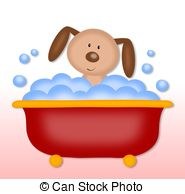 ... puppy makes bath time - colorful graphic illustration for... ...