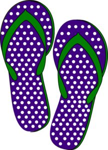 Purple And Green Flip Flops clip art