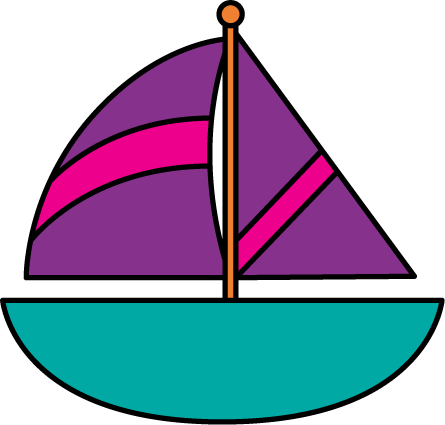 Purple and Pink Sailboat
