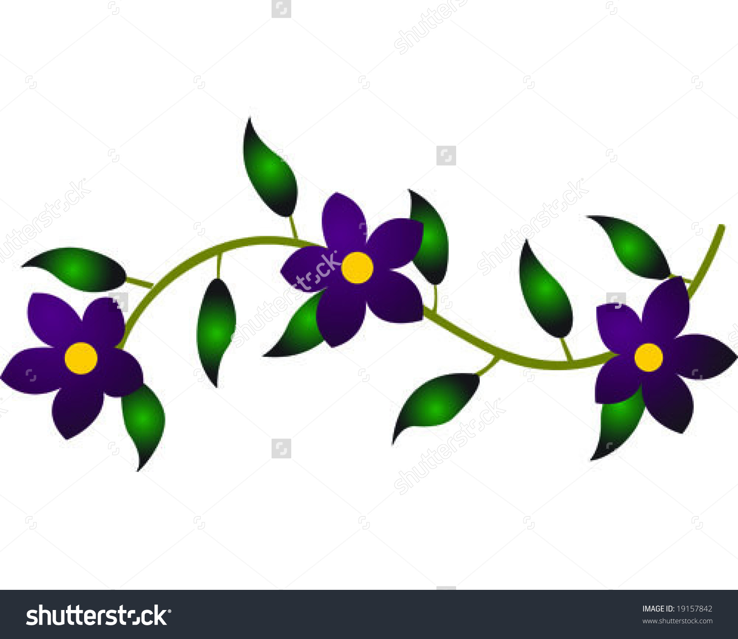 Purple Flower Vine Vector .
