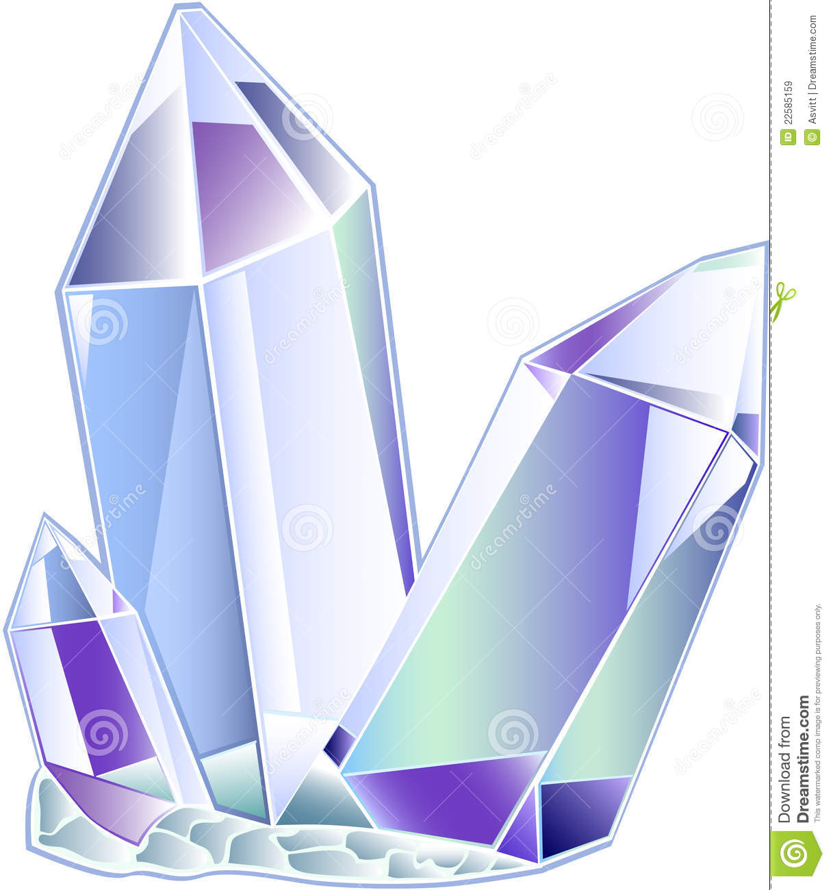 Quartz Druse Of Three Transparent Crystals On A White Background
