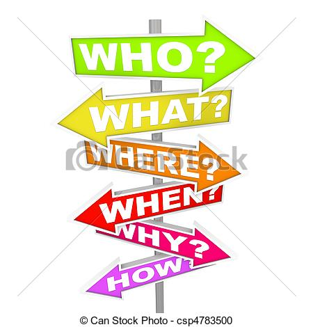 ... Questions on Arrow SIgns - Who What Where When Why How -.