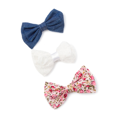 Quick View Floral Print, Lace and Denim Mini Bow Hair Clips Set of 3