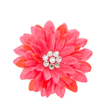 Quick View Fuschia Flower with Bedazzled Center Hair Clip