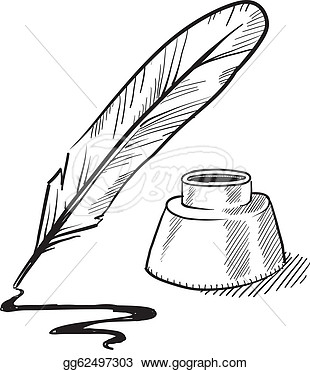 Quill Pen And Inkwell Sketch-Quill Pen And Inkwell Sketch-12