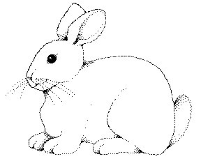 Rabbit clipart free clipart . bunny-BW