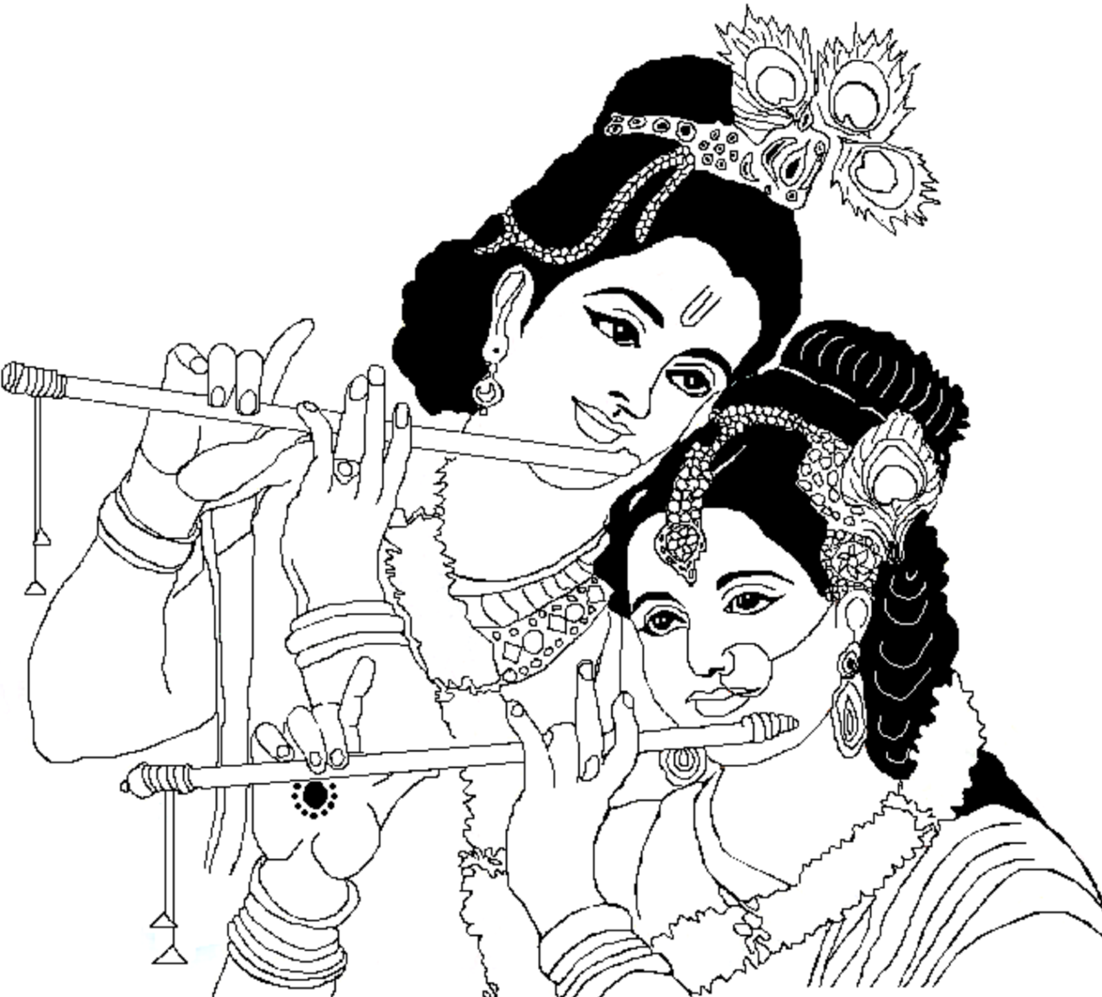 Lord Radha Krishna Coloring Drawing Free wallpaper