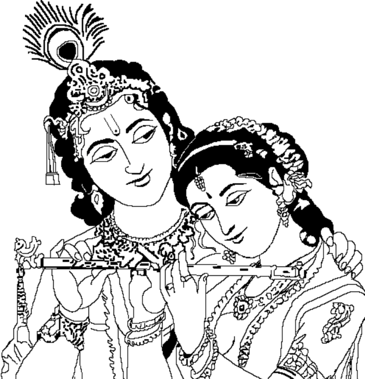 Radha Krishna Black And White Clipart-radha krishna black and white clipart-12