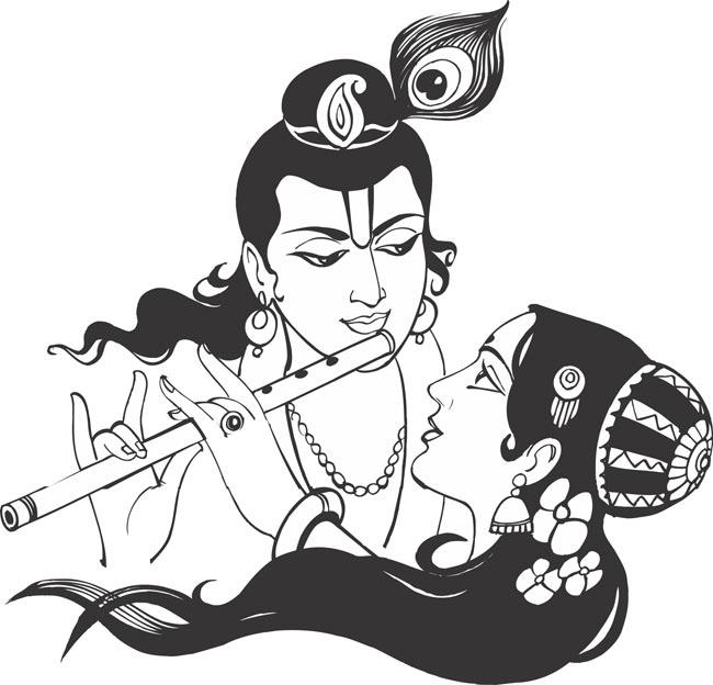radha krishna black and white clipart 3