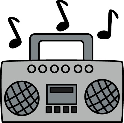 ... Radio Clip Art u0026middot; Boombox with Music Notes