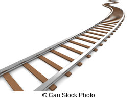 ... Railroad - 3D rendered Illustration. Isolated on white.